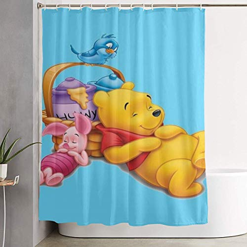 milkcolor Lustiger Stoff Duschvorhang Cartoon Winnie The Pooh wasserdichtes Badezimmer Dekor mit Haken 60 x 72 Zoll