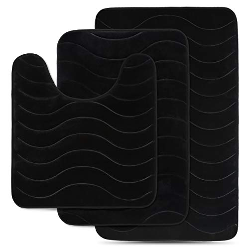Effiliv 3 Piece Bathroom Rugs Set - Memory Foam Bath Mats, Black/Water Sea
