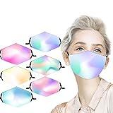 1/6 bandana facial para adultos, transpirable y cómoda, con degradado de arco iris, multicolor, resistente al viento, para usar en las orejas, para adultos, con diseño de 7 días.