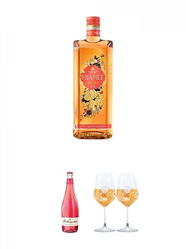 Miamee Orange Goldwasser Likör 0,7 Liter + Rotkäppchen Fruchtsecco Granatapfel 0,75 Liter + Miamee Goldwasser Cocktail Gläser mit 5cl Eichstrich 2 Stück
