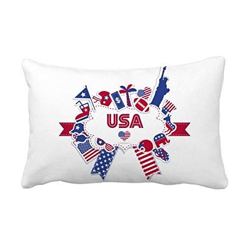 DIYthinker Usa Flagge Inde Kulli dence Tag Celebration Wurflendenkissen Kissenbezug Startseite Dekor-Geschenk 16 Zoll x 24 Zolls Mehrfarbig