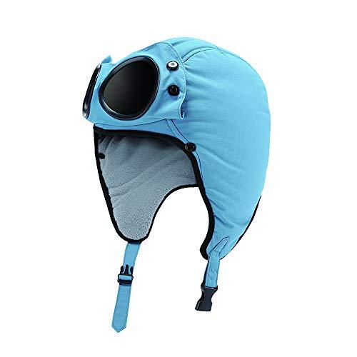 Action Fox muts met zonnebril Gogglez voor kinderen 54 cm - Blauw mat