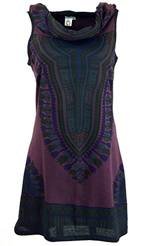 GURU SHOP Kapuzen Dashiki Minikleid, Goa Festivalkleid, Damen, Plum, Baumwolle, Size:M/L (38/40), Kurze Kleider Alternative Bekleidung