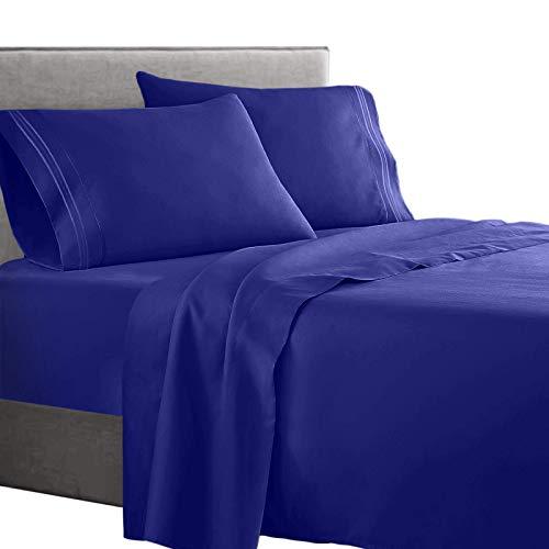 Clara Clark Supreme 1500 Collection 4pc Bed Sheet Set - Queen Size, Royal Blue