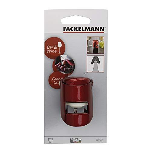 Fackelmann Sektverschluss GRANDCRU, Flaschenverschluss aus Stahl (Farbe: Rot), Menge: 1 Stück