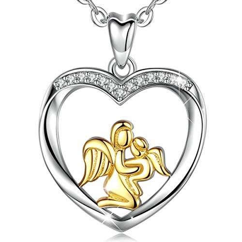 Weihnachtsgeschenke für Mamas, Sterling Silber Engel Flügel Mama Hält Baby Golden Zweifarbig Halskette Anhänger 46 cm, AEONSLOVE Mutter Tochter Kette Schmuck