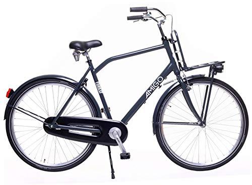 Amigo Forest - Cityräder für Herren - Herrenfahrrad 28 Zoll - Geeignet ab 175-185 cm - Citybike mit Handbremse, Rücktritt, Gepäckträger Vorne, Beleuchtung und fahrradständer - Grau