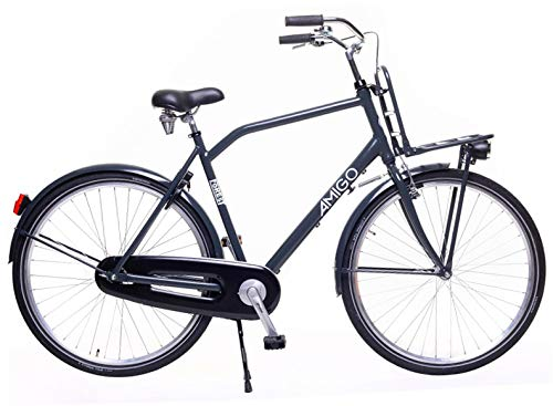 Amigo Forest - Bicicleta de ciudad para hombre de 28 pulgadas, apta a partir de 175 – 185 cm, con freno de mano, contrapedal, portaequipajes delantero, iluminación y soporte para bicicleta, color gris