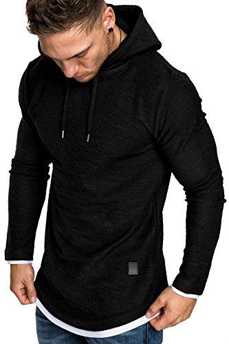 Amaci&Sons Herren 2in1 Oversize Kapuzenpullover Hoodie Sweater Sweatjacke Pullover Sweatshirt 4014 Schwarz L