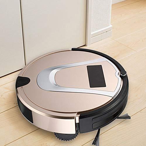 Robot Vacuum Cleaner, Buena TC-750 del Aspirador Inteligente de Pantalla táctil Barrido Robot de Limpieza del hogar con Control Remoto (Negro), Obras en Las alfombras y Suelos Duros (Color : Gold)