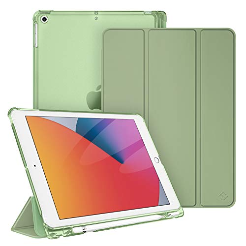 FINTIE Case for New iPad 10.2' 8th Gen 2020 / iPad 7th Gen 2019 - Lightweight Slim Shell Stand with Translucent Frosted Back Cover, Auto Wake/Sleep, Sage Green