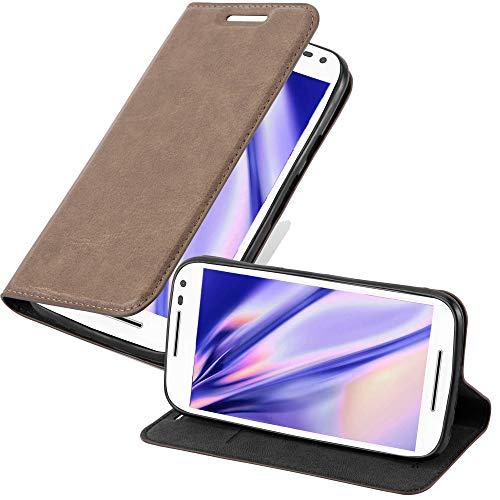 Cadorabo Hülle für Motorola Moto G3 - Hülle in Kaffee BRAUN – Handyhülle mit Magnetverschluss, Standfunktion und Kartenfach - Case Cover Schutzhülle Etui Tasche Book Klapp Style