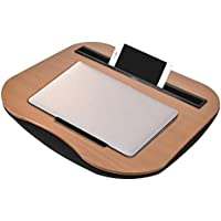 Bamboo Lap Desk para computadora portátil, soporte para computadora portátil con cojín almohada Multifunción portátil para computadora portátil Tableta con soporte para tableta para teléfono para iPad