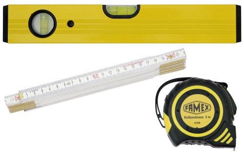Famex 12812 Set meetgereedschappen, 3-delig: rolbandmaat 5 m, duimstok 2 m, lichtmetalen waterpas