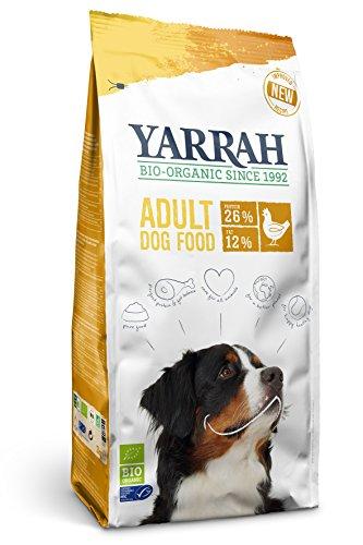YARRAH Cibo secco organico per cani adulti di taglia media e grande I squisiti bocconcini biologici con pollo, 10kg I 100% biologico e privo di additivi artificiali