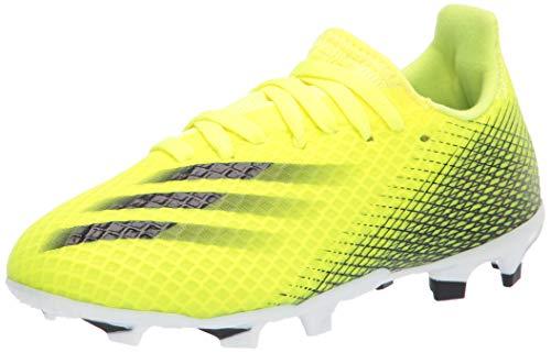 adidas Boy's X GHOSTED.3 Soccer Shoe, Solar Yellow/Black/Team Royal Blue, 6 Big Kid