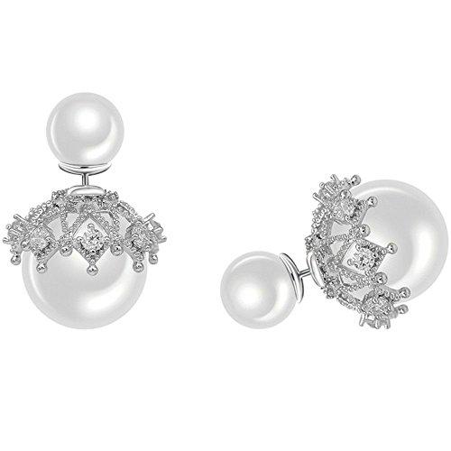 QIYUEQI Duplex-einheit für Perle 925 Sterling Silber Pins und Vorder- und Rückseite des minimalistischen Charakter, Ohrringe ohr Nagel Ohr Ornamente, Meistgelesene White