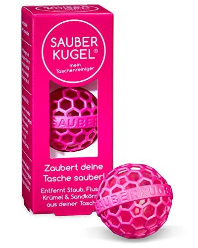 SAUBERKUGEL® für die Tasche | Pink | Wiederverwendbarer Taschenreiniger für Handtasche, Schulranzen & Rucksäcke | Nimmt Schmutz, Krümel & Flusen auf | Silikon- und PVC frei (3,5 cm)