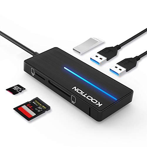 KOOTION USB 3.0 Hub with SD/TF Card Reader Ports, Ultra Slim 3-Port USB 3.0 Data Hub with LED Indicator, Black