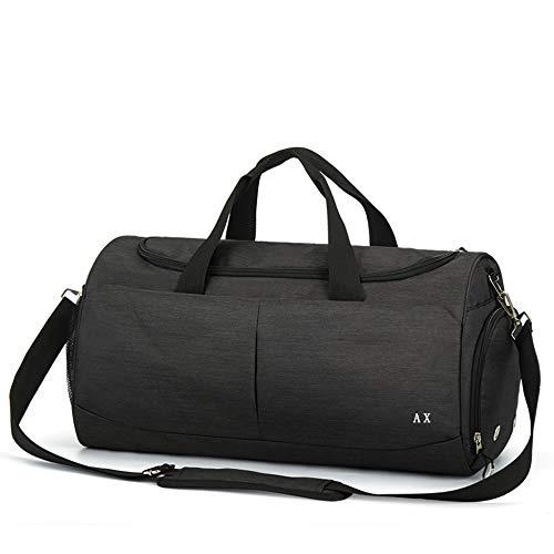 AX ボストンバッグ メンズ ダッフルバッグ レディース スポーツバッグ 大容量 乾湿分離 (ブラック)