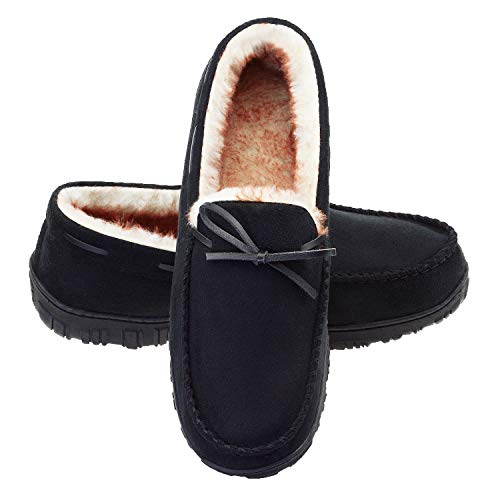 LA PLAGE Slippers for Moccasin Bedroom Slippers for Mens Memory Foam Arch Support Microsuede House Slippers 11 US Black