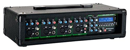 Pronomic PM42U MP3 4-Kanal Powermischer (Mischpult mit Verstärker und integriertem USB/SD MP3-Player, 2x 100 Watt, Mic/Line/Instrument-Input, 3-Band Graphic Equalizer im Masterkanal)