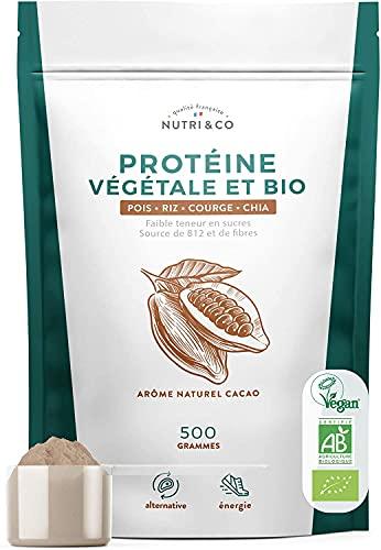 Protéine Vegan BIO - 4 Sources : Pois, Riz, Chia et Courge - Alternative à la Whey - Riche en BCAA - Mélange Onctueux sans Grumeaux - Goût Naturel Cacao - Sans Excipients - Vegan - 500g - Nutri&Co