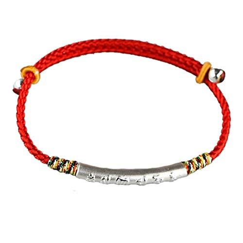WWWL Pulsera 999 Plata esterlina Oro Color Hecho a Mano Pulsera de Cuerda roja Delgada para Las Mujeres Seis Palabras Grabado Mantra oración Budismo joyería Silver1pcs