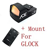 Ade Advanced Optics Crusader RD3-009 Red Dot Reflex Sight for Glock Hand Guns Handgun Mounting Plate That Replace Rear Sight