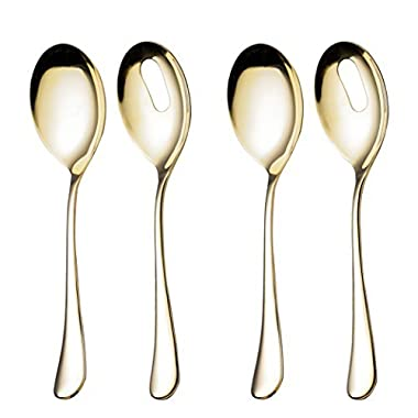 4 Piece Serving Skimmer and Slotted Serving Spoon 10-inch Serving 2 Set Stainless Steel Large Table Flatware Dishwasher Safe for Buffet, Banquet, Party (Gold)