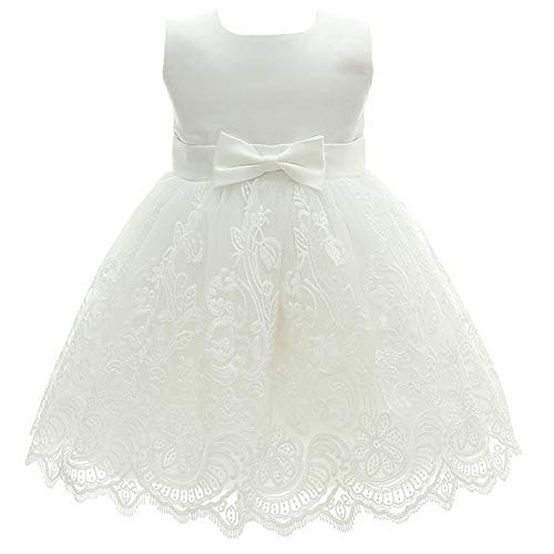 Monimo Baby Mädchen Bogen Prinzessin Kleid Taufkleid Festlich Kleid Hochzeit Partykleid Festzug Babybekleidung