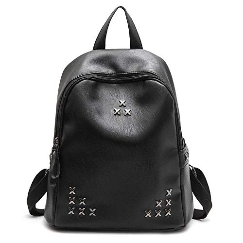 Classical Leather Backpacks for Women Multi Pockets Waterproof Daypacks Casual Travel Backpack-Black_35*13 * 31cm