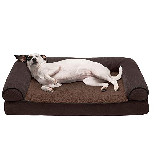 Furhaven Pet Dog Bed - Orthopedic Faux Fleece and Chenille Soft Woven Traditional Sofa-Style Living Room Couch Pet Bed with Removable Cover for Dogs and Cats, Coffee, Medium