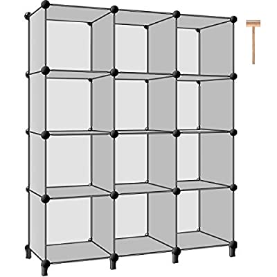 TomCare Cube Storage 12-Cube Closet Storage Shelves Cube Organizer Cube Shelf Storage Cubes Plastic Bookshelf Bookcase DIY Square Closet Cabinet Organizers Shelves for Bedroom Office Living Room, Grey