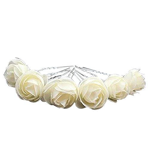 keland 12pcs Haarnadel Haarband Blume Pin Braut Mädchen Frauen Hochzeit Prom Party Pin Corsage Tiara Stirnband (Cream)