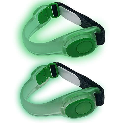 EasyULT 2 Pezzi Braccialetto LED Bracciale Catarifrangente, Bracciale Silicone Riflettente Alta visibilità per Sport Corsa Ciclismo per Running, Bici, Corsa Notturna, Correre- Verde
