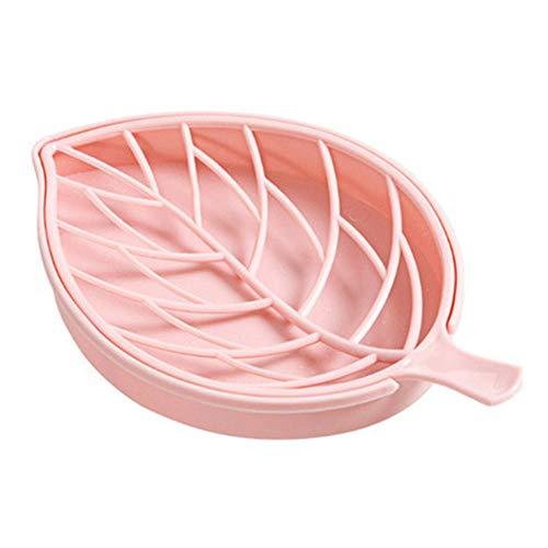 Zeepbakje in bladvorm, antislip, zeepbakje, badkamer, douchebak Roze