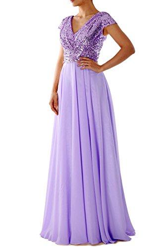 MACloth Women Cap Sleeve V Neck Long Evening Gown Sequin Mother of Bride Dresses (US14, Lavender)