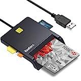 Lector de Tarjeta Inteligente, DOD Military USB-C CAC Lector de Tarjeta de Memoria de Acceso común Adaptador de Tarjeta SIM/SD/Micro SD Compatible con Windows XP/Vista/10/8.1/8/7/Mac OS