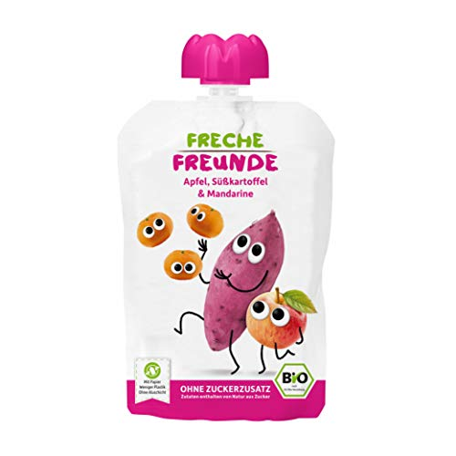 FRECHE FREUNDE Bio Quetschie Apfel, Süßkartoffel & Mandarine, Fruchtmus im Quetschbeutel für Babys ab dem 6. Monat, glutenfrei & vegan, 6-er Pack (6 x 100g)