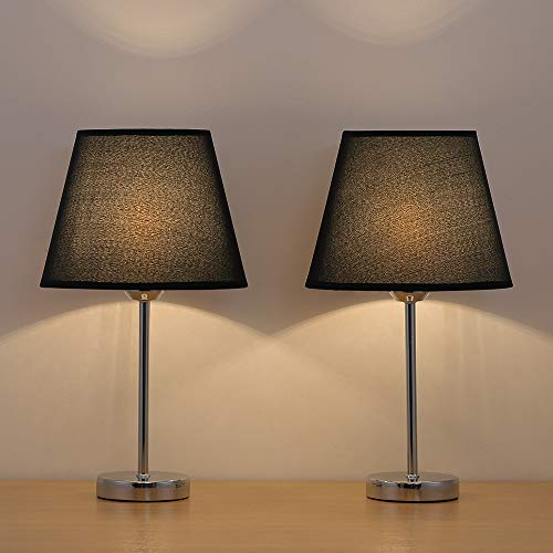 Bedside Table Lamps, Small Nightstand Lamp with Linen Fabric Shades Metal Frame for Bedroom Living Room Office, Set of 2