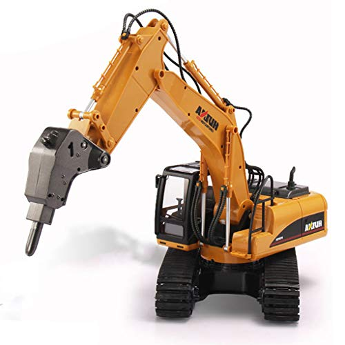 IIIL Camión Perforación Excavadora 16 Canales RC, 1:14 Vehículo Ingeniería Excavadora Perforación Aleación Martillo Ruptura para Niños Juguetes Regalos