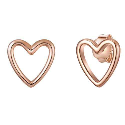 Glanzstücke München Damen-Ohrstecker Herz Sterling Silber rosévergoldet - Ohrringe Herz-Form Ohr-Schmuck rose-gold Frauen Mädchen Teenager