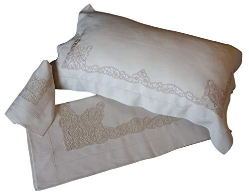 RICAMI FIORENTINI BALDI Bettlaken 270 x 300 + 2 Kissenbezüge, 100% Leinen, Beige, Stickerei Tombolo und Füllen