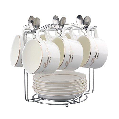 Teckpeak Set von 6 Kaffeetasse mit Klammer Untertasse und Löffel