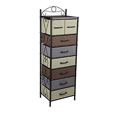 Household Essentials 8044-1 Victorian 8 Drawer Tower   Storage Dresser or Chest   Black