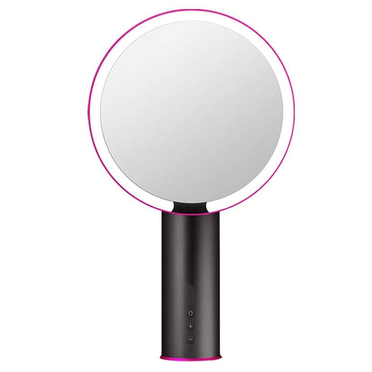 アルプス省テロライト付き化粧鏡、3色のLEDライト調整可能な明るさ充電式ポータブル美容ホームトラベルギフト用化粧鏡、スペースグレー
