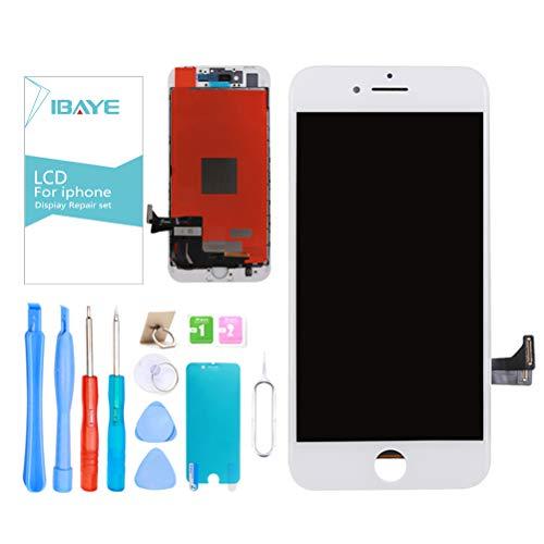 Ibaye Display LCD Touch Screen per iPhone 8 Bianco (4,7 Pollici) Vetro Schermo Frame Kit Smontaggio trasformazione Completo di Ricambio