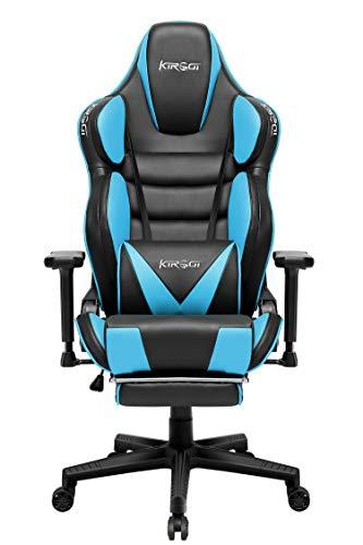 Kirogi Gaming Stuhl Racer Ergonomischer Gaming Stuhl 160kg Gaming Sessel Leder mit Fußstütze und Muskeldesign PC Stuhl Gaming Verstellbarer Multifunktions-Sessel mit überfülltem Kissen, Blau