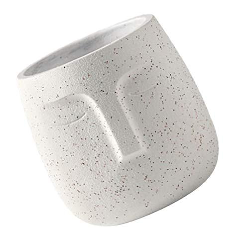 Hemoton Fioriera in Cemento Statua Vaso da Fiori Testa di Persone Vaso da Fiori in Cemento Vaso Faccia per Giardino di Casa Decorazione da Interno Esterno Bianco